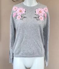 BNWT H&M Embroidered Jumper Size XS 6 8 10 Cotton Grey Floral Pink Top Indie