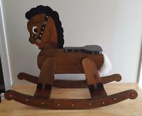 Vintage Wooden Rocking Horse Painted Solid Wood Kids Toy
