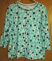 Pendleton Women's Large silk blend button up cardigan sweater 3/4 slv green dots