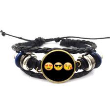 Happy Face Emoji Glass Cabochon Bracelet Braided Leather Strap Bracelets