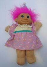"Russ Troll Kidz Doll Vintage 12"" Plush Happy Birthday 90s Pink Hair Toy Dress"