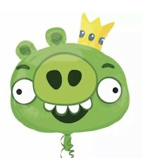 """Green King Pig Angry Birds Birthday Party Decoration 23""""SuperShape Mylar Balloon"""