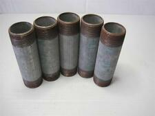 "7686 Lot (5) 1 1/4"" NPT x 5 1/2"" Pipe Nipple Galvanized Steel Threaded Both Ends"