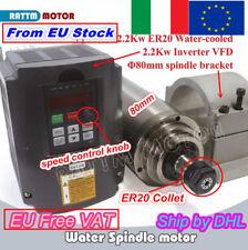 【ITA】2.2KW Water Cooling Spindle CNC Engraving Motor & VFD Inverter & Clamp 80mm