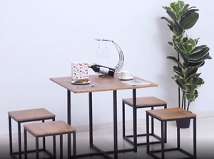 Mdf Topped Steel 5-piece Dining Bar Table Set 4 Stools Black/Brown Style Décor