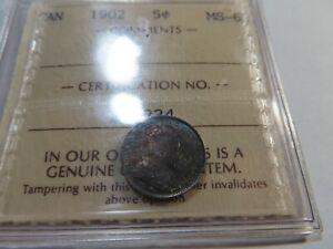 Q2 Canada 1902 5 Cents ICCS MS-63