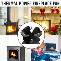 NEW 4 Blades Eco Friendly Heat Powered Log Burner Fireplace Stove Top blue Fan v