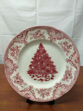 "Johnson Bros PINK CHRISTMAS TREE Old Britain Castles 10 5/8"" DINNER PLATE Qty"
