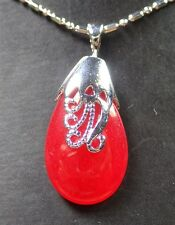 Gold Plate CHINESE Red JADE Pendant Teardrop Necklace 255978