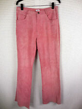 Vintage Womens Pink Leather Suede Pants Sz 8 Think Tank Boot Cut Hippie 30W 31L