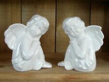 2 schöne schwere Engel aus Keramik, weiß-beige, Innendekoration, Außendekoration