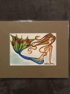 Original NOR Mermaid Watercolor Painting #3 In An 8x10 Matted