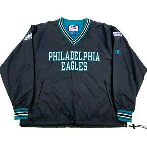 NEW NWOT VTG Philadelphia Eagles 1996 Champion Black Pullover Jacket Windbreaker