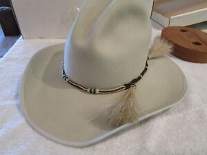 Priest Custom Beaver, Beige Cowboy Hat, distressed-style, 7 3/8, from Eagle, ID