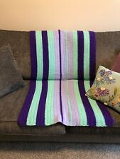 "Vintage Handmade Knit Afghan Lap Blanket Sofa Throw Purples Aqua Stripes 28""x56"""