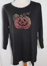 Black Quacker Factory Halloween Pumpkin Tee Shirt Top - size Large &  New