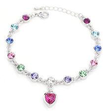 Heart Multi-color Crystal Tennis Silver Adjustable White Gold Plated Bracelet