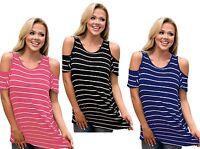 Woman's Ladies Striped Cut Out Cold Shoulder Tunic Top Plus Size 12 14 16 18