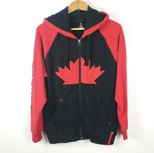 Canada Hoodie Sweatshirt Red & Black Leaf Full Zip Long Sleeve GUC Mens Sweater