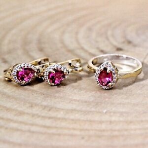 Turkish Handmade Ruby Silver 925 Set Earring Ring 6-12