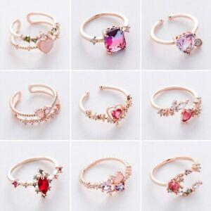 Fashion Crystal Rhinestone Rings Heart Flower Ring Women Girl Wedding Party Gift