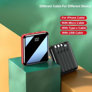 18W 16800mAh PowerBank mit 4 USB Ladekabel Mini Ladegerät für iPhone Samsung