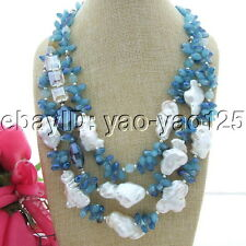 "S101506  20"" 3 Strands White Keshi Pearl Blue Crystal Necklace"