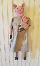 New listing Primitive Grungy Mrs Pig Doll & Piggy Her Piglet
