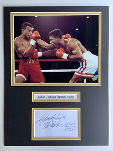 "Boxing Julian Jackson Signed 16"" X 12"" Double Mounted Display"