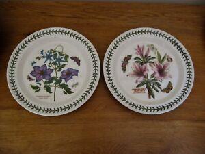 2 Portmeirion Botanical Garden Dinner Plates Virgins Bower Lily Azalea New