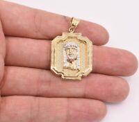 "1 1/2"" Jesus Head Medallion Diamond Cut Pendant Real 10K Yellow White Gold"