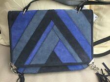 fb0dc2ddca4 ZARA BLUE & BLACK STRIPED REAL SUEDE LEATHER SHOULDER BAG