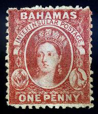 Bahamas. 1863. 1d. Rose Red. SC# 11c. SG# 23. Wmk CC. Perf 12 1/2. No Gum