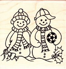 Fútbol Nieve Niños-Personal Impressions Sello de goma montado madera