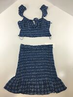Cotton Candy LA Womens 2 Piece Smock Set Crop Top + Skirt Royal Blue Small NWT #