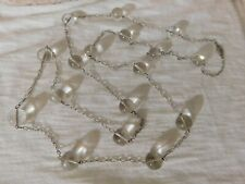 """Victorian Antique Pool of Light Rock Crystal Orb Sterling Silver Necklace 42"""""""