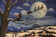 LE #3 4X6 POSTCARD RYTA BLACK CAT FOLK ART SANTA CHRISTMAS LANDSCAPE WINTER SNOW