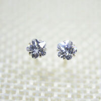 Solid 925 Sterling Silver Cute Tiny Cubic Zirconia CZ Flower Stud Earrings Gift