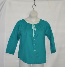 Linea by Louis Dell'Olio Peasant Blouse with Drawstring Detail Size 1X Green