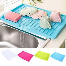 Plastic Worktop Dish Drainer Drip Tray Large Kitchen Sink Drying Rack Holder LI