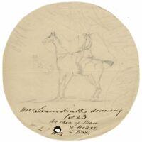 Isabella Loraine-Smith, Rider, Horse and Fox – Original 1823 graphite drawing
