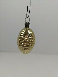 """2"""" Antique German Glass Christmas Ornament Feather Gold  Egg Hobnail bumpy"""