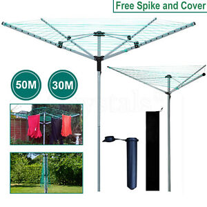 3/4 Arm Rotary Airer Outdoor Washing Line Clothes Dryer Free Ground Spike+Cover