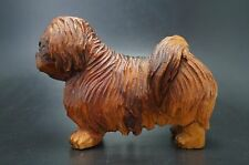 Vtg Wood Anri Wooden Carved Pekingese Dog Italy
