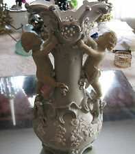 TOP  QUALITY ANTIQUE  1800'S  12'' VILLEROY & BOCH  PUTTI  CHERUB VASE...