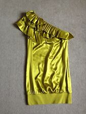 TED BAKER One Shouldered Ruffle Dress 2/10 Lime Green Silk Wedding Vintage Party