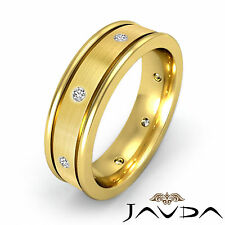 Diamond Mens Eternity Wedding Band Center Brush Solid Ring 14k Yellow Gold 0.2Ct