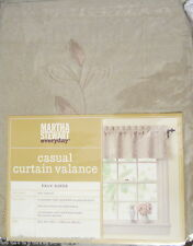 Martha Stewart Natural Tan Botanical Embroidery Faux Suede Valance Curtain