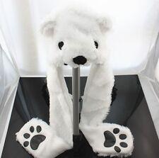 WHITE POLAR BEAR PLUSH ANIMAL HAT SOFT WARM EARMUFFS 3 in 1 Function Hat/Scarf