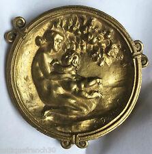Joli bas relief bronze 1900 Art Nouveau, signé, nymphe putti nu, à identifier